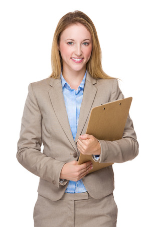 businesswoman suit: Caucasian businesswoman with clipboard