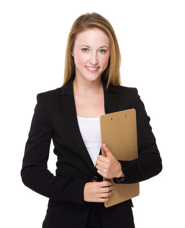american banker: Young caucasian Businesswoman hold with clipboard Stock Photo