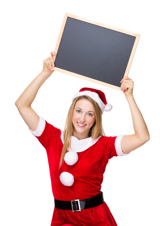 mas: Woman with x mas costume raised a chalkboard up