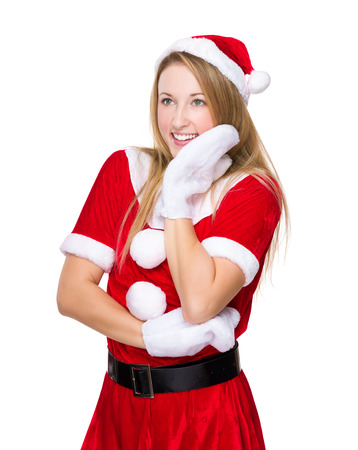 x mas: Happy woman with x mas dress and hand touch on face Stock Photo