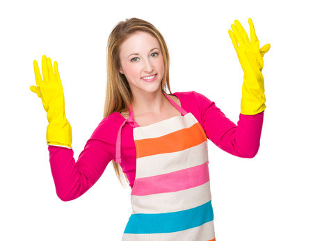 housewife gloves: Young housewife wear with rubber gloves