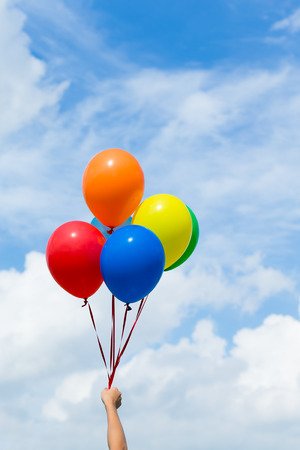 flotation: Colorful balloons with blue sky Stock Photo