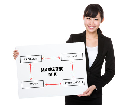 4p: Businesswoman holding a board showing business mix concept