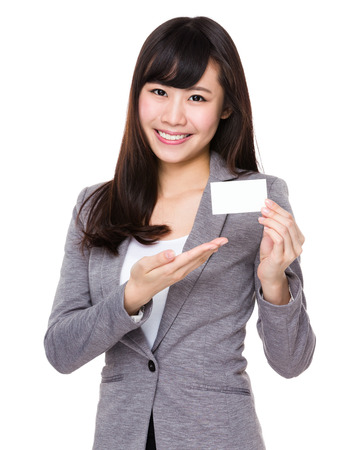 businesswoman card: Young businesswoman show with name card Stock Photo