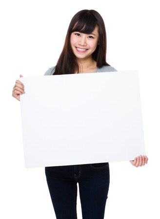 white poster: Asian woman show with white poster