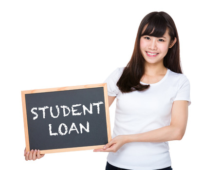 show bill: Woman hold with chalkboard showing student loan