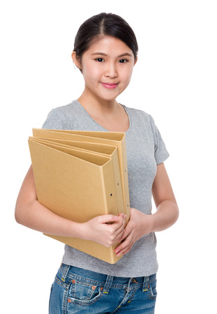 causal: Young woman hold with folder