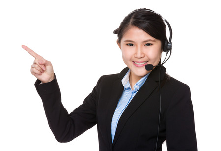 hotlink: Call center agent and finger point up