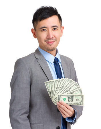 usd: Businessman hold with USD Stock Photo