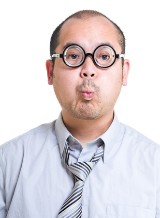 face expression: Businessman with funny face expression