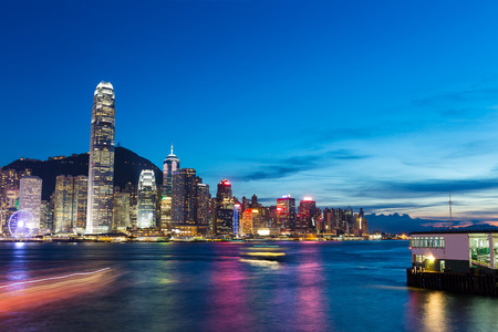 cityscapes: Skyline and cityscape of modern city hongkong at night Stock Photo