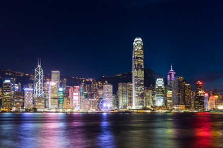 city scene: Hong Kong night scene Stock Photo