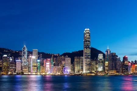 harbours: Hong Kong Island skyline at night Stock Photo