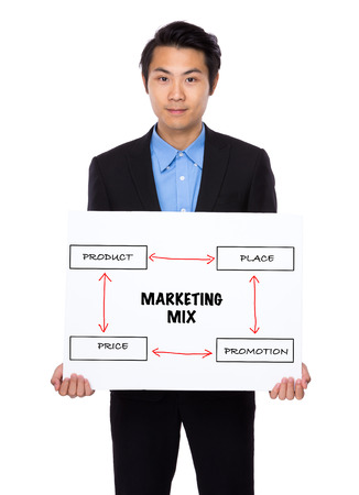 4p: Asian Businessman holding a banner showing business mix concept Stock Photo