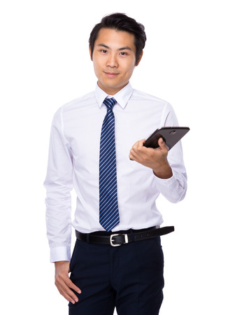 chinese businessman: Chinese businessman with a tablet computer