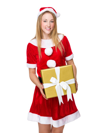 mas: Woman with x mas costume hold a big gift box Stock Photo