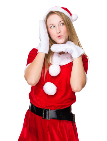 x mas: Woman with x mas costume with funny face expression Stock Photo