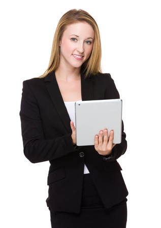 american banker: Businesswoman use of the tablet pc