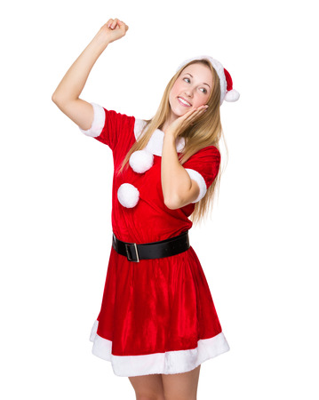 x mas: Happy woman with x mas dress Stock Photo