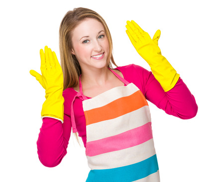 housewife gloves: Housewife with rubber gloves Stock Photo