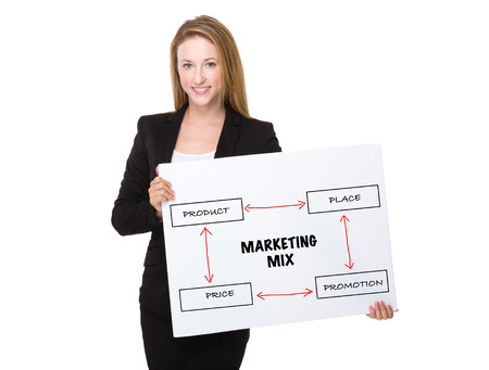 marketing mix: Businesswoman holding a placard showing marketing mix concept