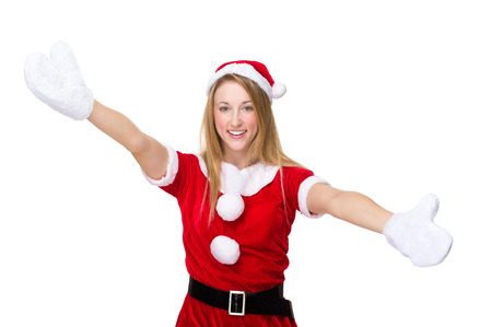 mas: Woman with x mas costume with open arm for welcoming you