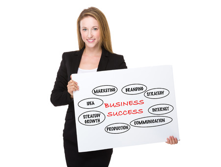 american banker: Businesswoman holding with a placard showing business success concept