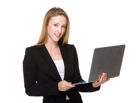 portable: Businesswoman use of portable computer