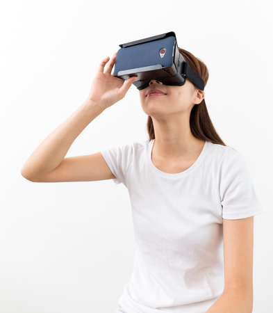 Young woman watch with VR device