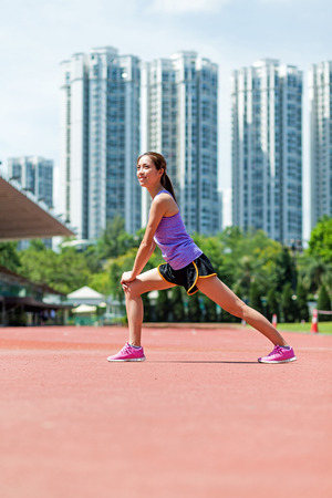 warm up exercise: Sport woman doing warm up exercise