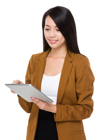use: Businesswoman use of tablet Stock Photo