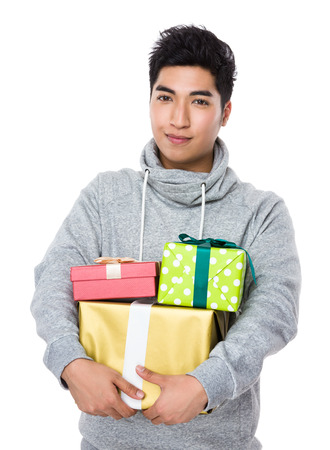 lots of: Man hold with lots of gift box