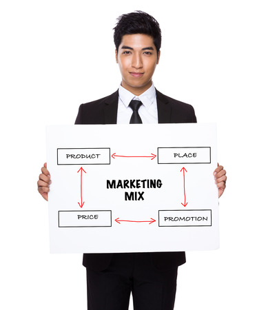 4p: Businessman hold with white card board presenting marketing mix concept