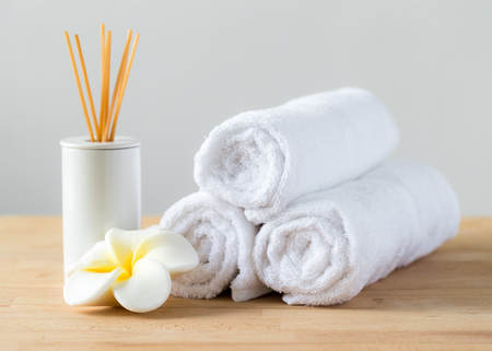 towel: Aromatherapy spa plumeria and towel Stock Photo