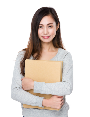 case: Young woman hold with folder