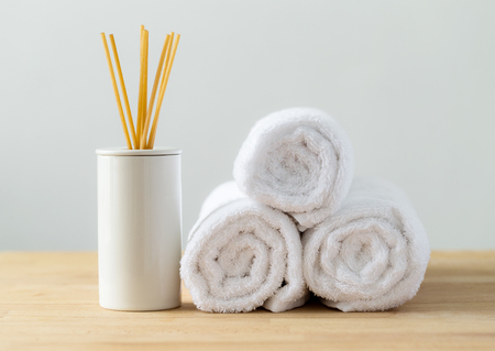white towels: Scented woods and white towel for spa