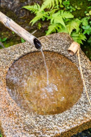 bamboo fountain: Traditional Bamboo Fountain in Japan