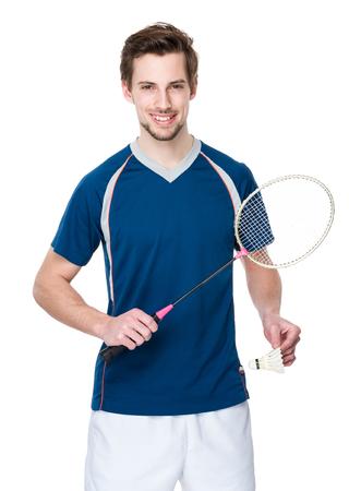 badminton racket: Caucasian Badminton player with shuttlecock and racket