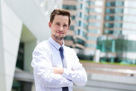 american banker: Young Businessman at Hong Kong Stock Photo