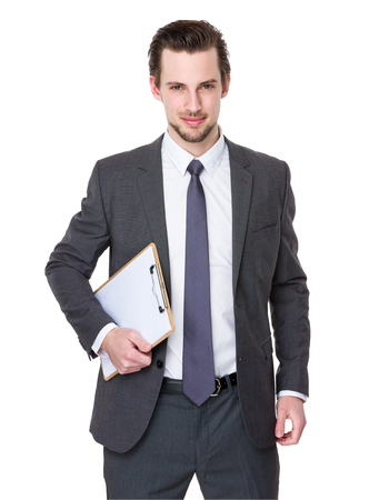 american banker: Young businessman hold with clipboard