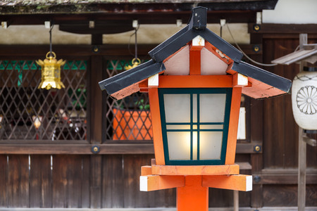 asian house plants: Red lantern in traditional japanese temple