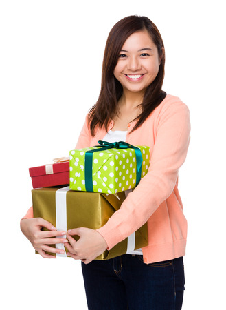 lots of: Asian young woman hold with lots of present box