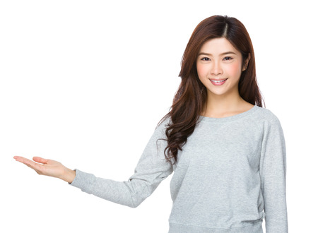 sweatsuit: Young Woman with open hand palm
