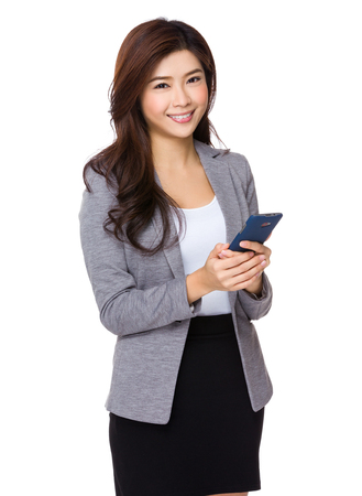 telephone saleswoman: Asian businesswoman use of the cellphone