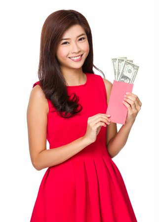 usd: Chinese young girl hold with Lucky money with USD