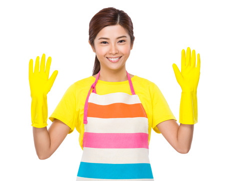 japanese cookery: Young Housewife wear with plastic gloves