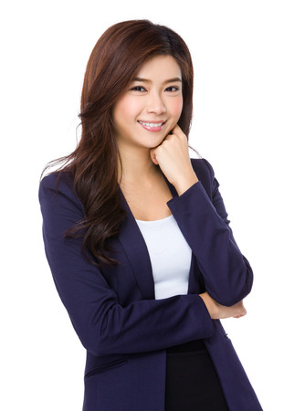 lean on hands: Young Businesswoman Stock Photo