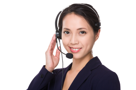 telephone saleswoman: Customer services operator
