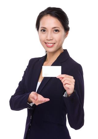 namecard: Asian Businesswoman show with blank namecard Stock Photo