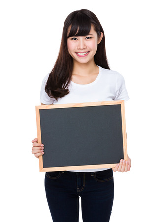 show of hands: Asian woman show with the chalkboard Stock Photo